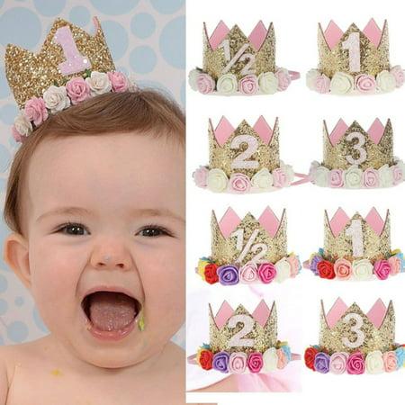 Girl12Queen Baby Girl Crown Letter Shiny Sequins Flower Headwear Birthday Festival Headband