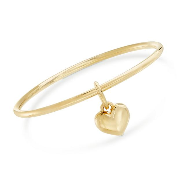 Ross-Simons Italian Andiamo 14kt Yellow Gold Heart Charm Bangle Bracelet...