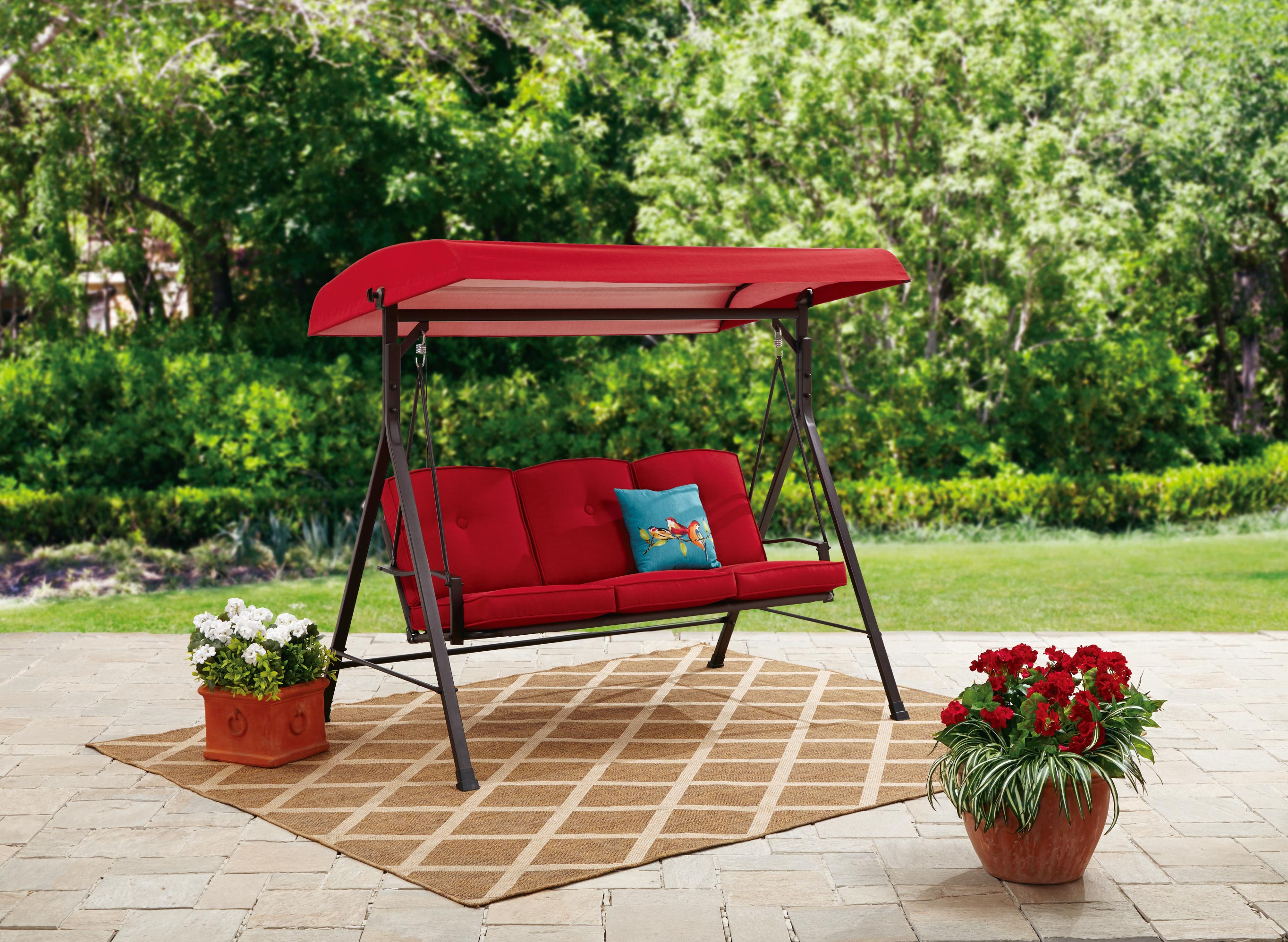 mainstays forest hills 3-person canopy porch swing  red