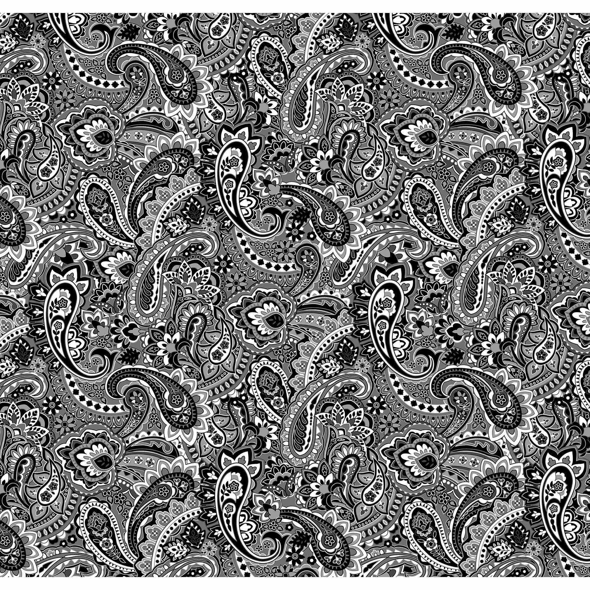 Springs Creative Cotton Blenders Gadabout Paisley, Black, Fabric by the Yard