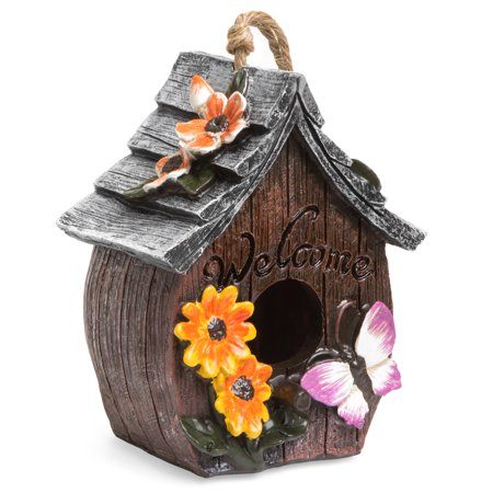 - Best Choice Products Hand-Painted Decorative Bird House for Garden Decor' w/ Butterflies and Flowers