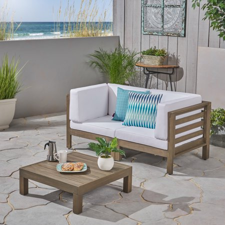 Wondrous Kylan Outdoor Modular 3 Piece Acacia Wood Sectional Loveseat And Coffee Table With Cushions Gray White Evergreenethics Interior Chair Design Evergreenethicsorg
