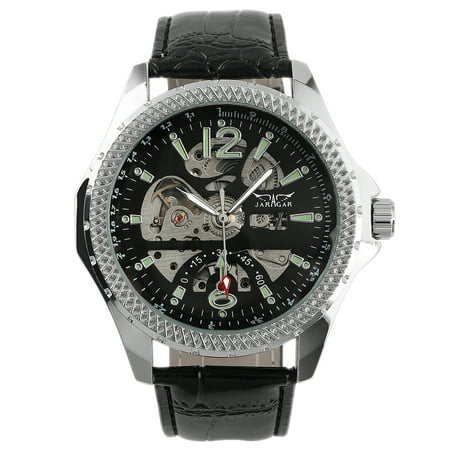Mechanical Black Skeleton Dial (Mens Mechanical Steampunk Automatic Watch Black Skeleton Dial Leather)