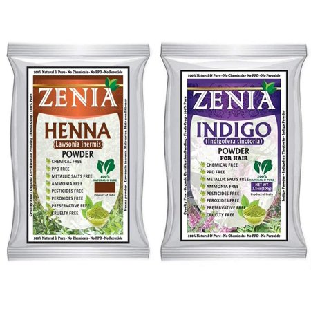 100g Indigo Henna + Henna Hair Color, Pure Indigo For Hair Natural hair Dye  Without Chemicals By Zenia