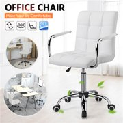 Topeakmart Height Adjustable Office Chair PU Leather Swivel Computer Desk Chair on Wheels White