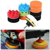LHCER 12Pcs 3 Inch Sponge Buffing Polishing Pad Kit for Car Polisher with Drill Adapter, Polishing Buffing Pad, Car Polisher