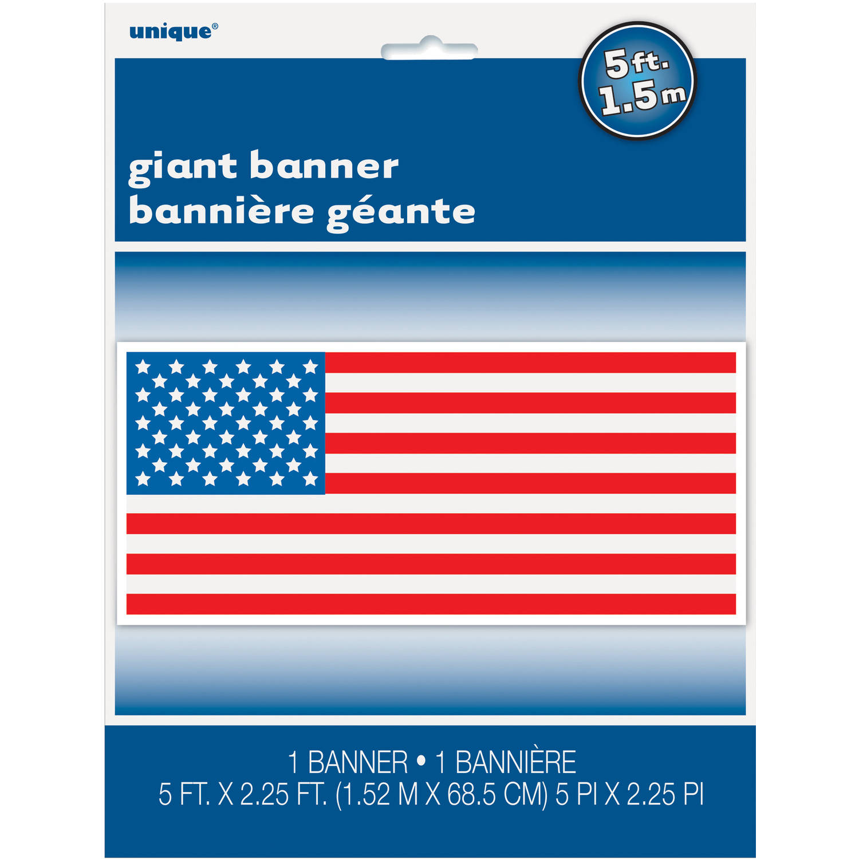 "Plastic American Flag Wall Banner, 60"" x 27"""