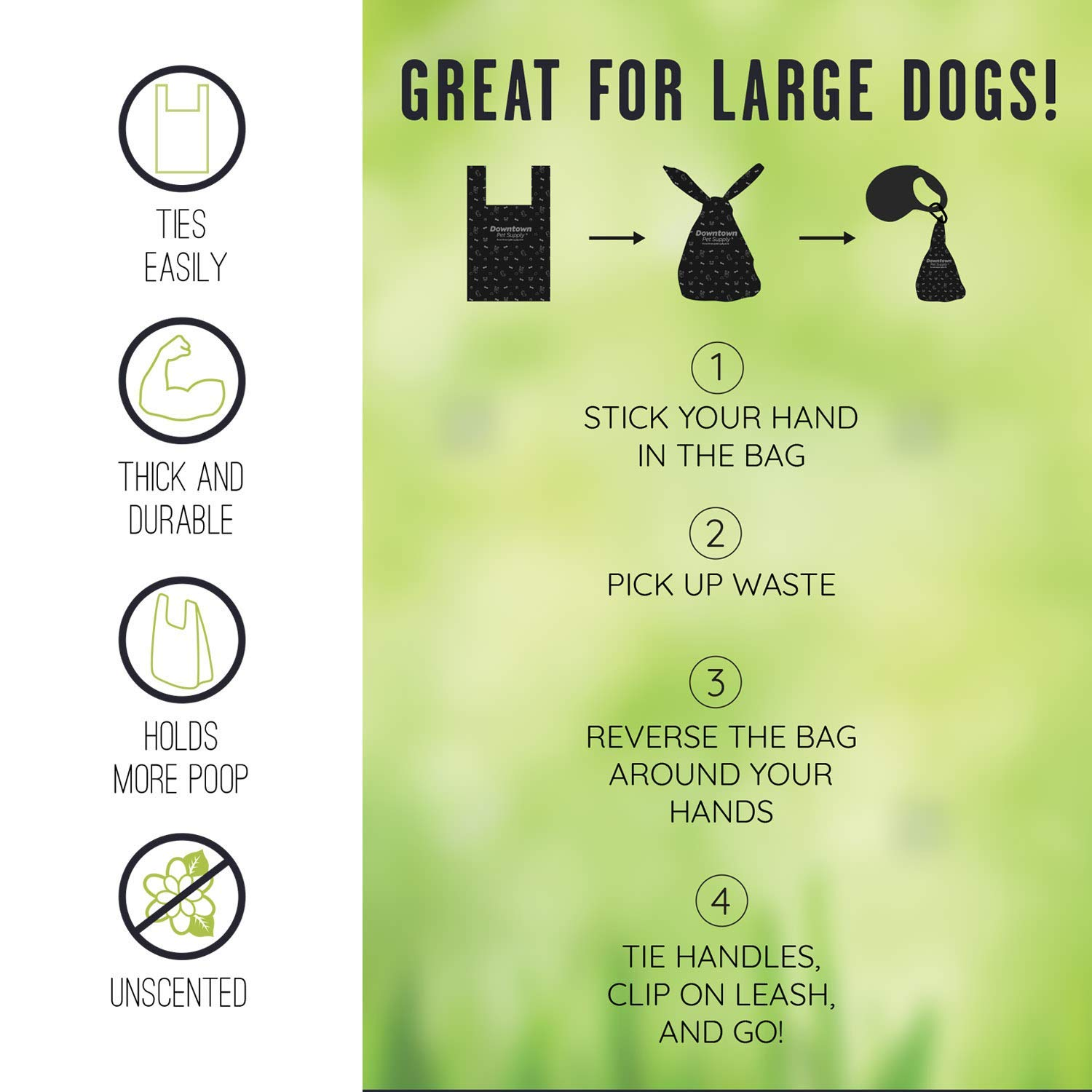 Includes Bag Holder Black and Blue Color Dog Cat Tie Handle Pet Waste Bags 6.5 x 14.5 Doggie Poop Bags Dogs