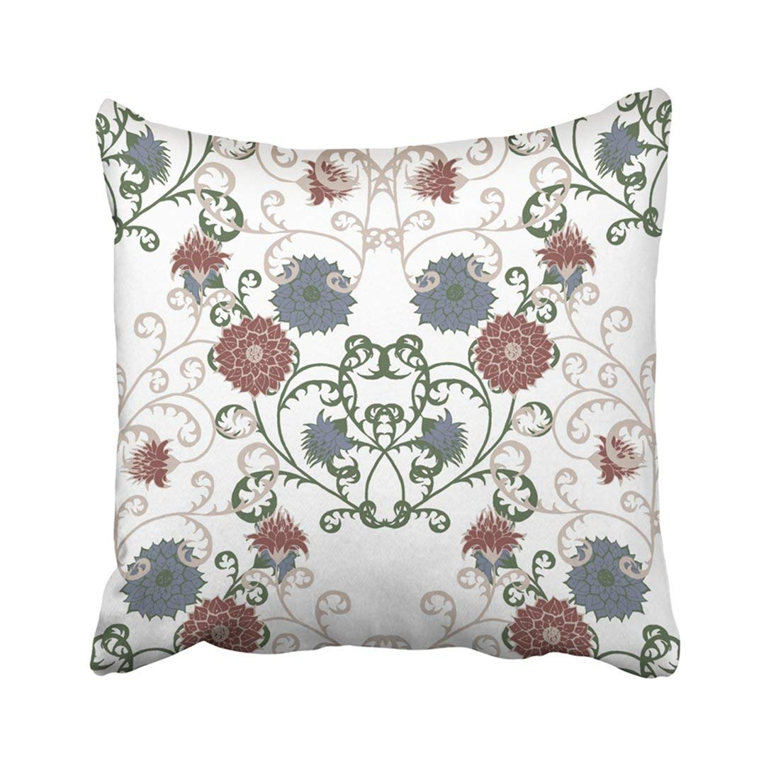 WOPOP Colorful Floral Rapport in Vintage with Big Flowers of Michaelmas Daisy Aster Natural Pillowcase 16x16 inch