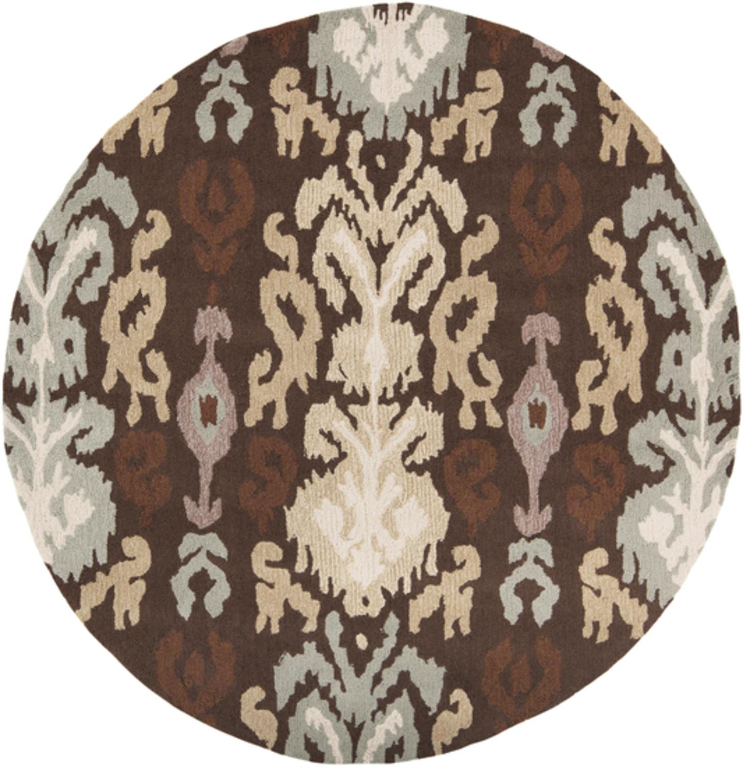 4' Calcutta Dark Cocoa, Off-White and Taupe Hand Hooked Round Area Throw Rug
