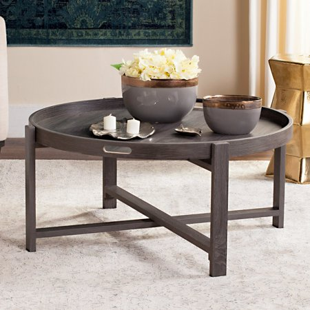 Safavieh Cursten 33 Round Tray Top Retro Mid Century Coffee Table Dark Grey