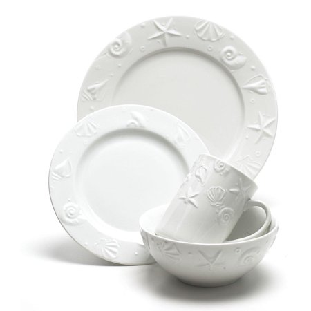 Thomson Pottery 16-pc. Set Embossed Shell One Size White ()
