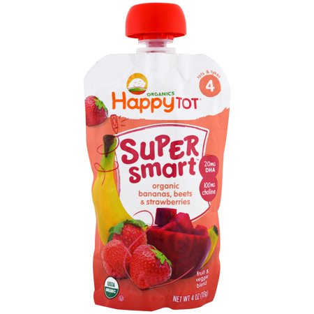 Nurture Inc. (Happy Baby), Happy Tot, Stage 4, Super Smart, Fruit & Veggie Blend, Organic Bananas, Beets & Strawberries, 4 oz (pack of 2)