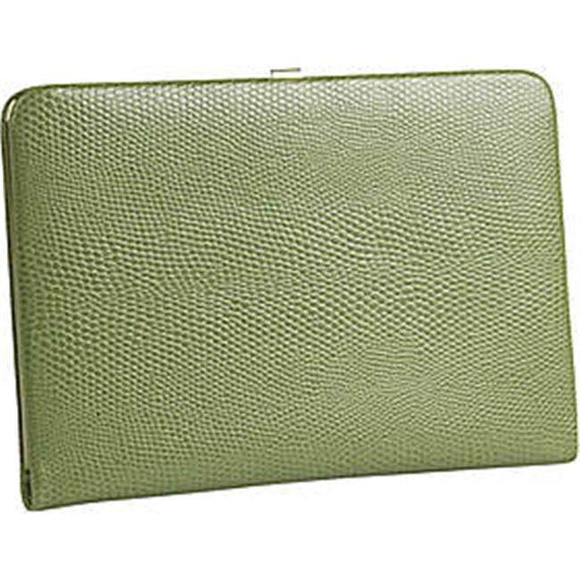 Budd Leather 551856L-39 Framed Lizard Print Calf Skin Photo Case - Lime Green