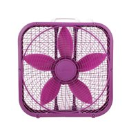 "Lasko Cool Colors 20"" 3-Speed Box Fan, Model B20309, Purple"