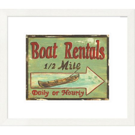 Global Gallery Coastal Boat Rentals By Grace Pullen Framed Vintage Advertisement