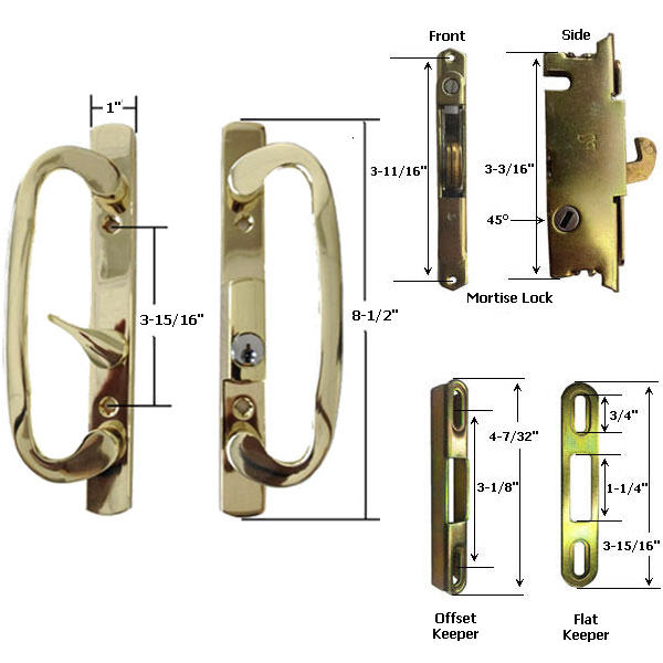 Sliding Glass Patio Door Handle Kit with Mortise Lock and Keepers, B-Position, Latch Lever is Off-Centered, Brass-Plated, Keyed