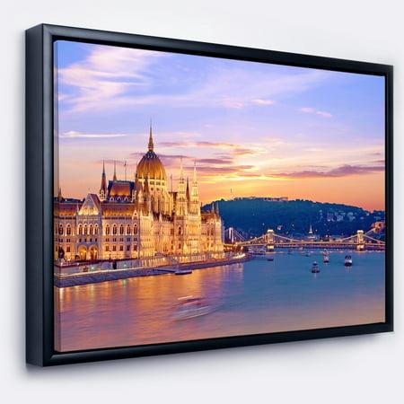 design art designart parliament and bridge over danube cityscape framed canvas print
