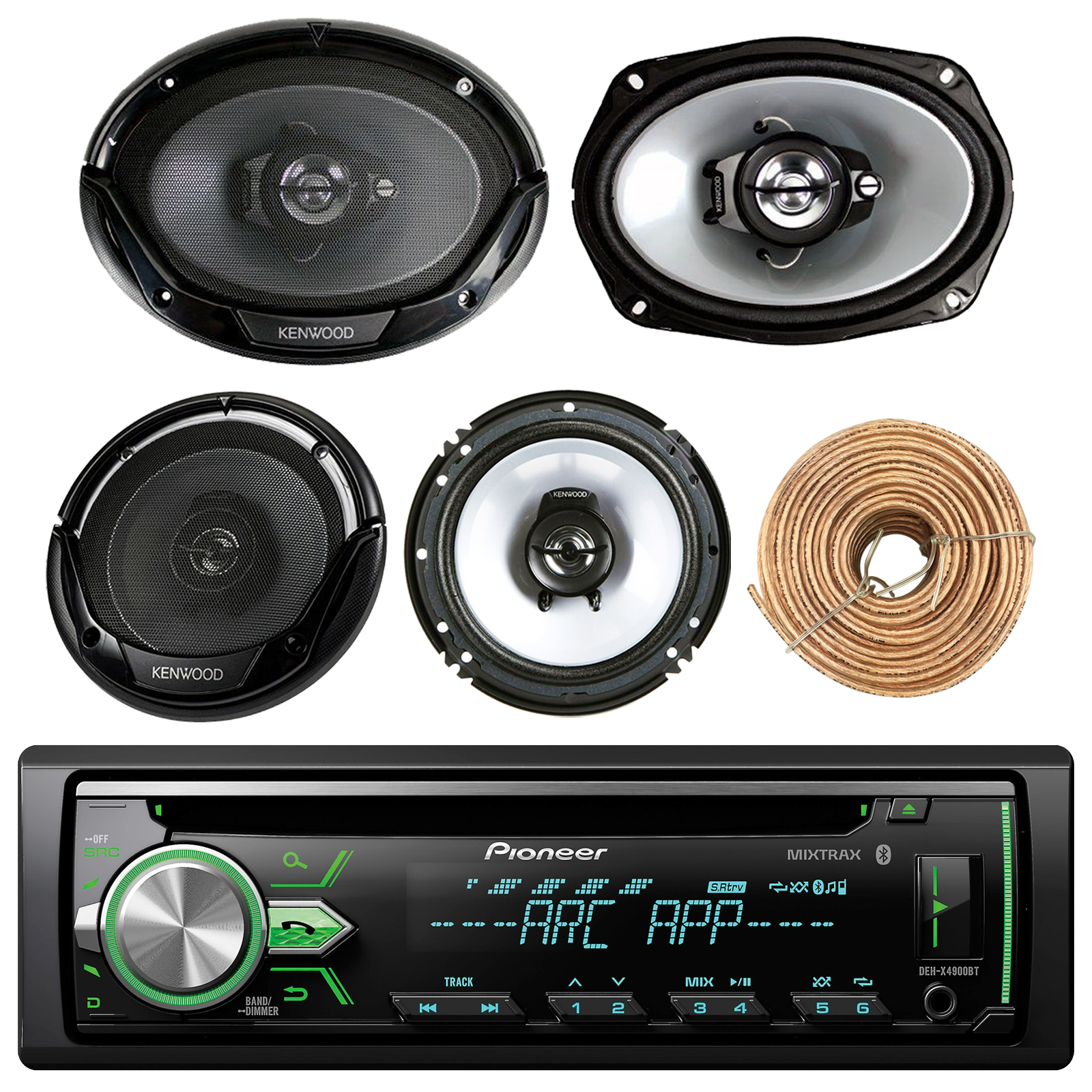 "Pioneer DEH-X4900BT Car Bluetooth Radio USB AUX CD Player Receiver - Bundle Combo With 2x Kenwood 6.5"" 2-Way Black Car Coaxial Speakers + 2x 6x9"" Inch 3-Way Speaker + Enrock 50 Foot 18g Speaker Wire"