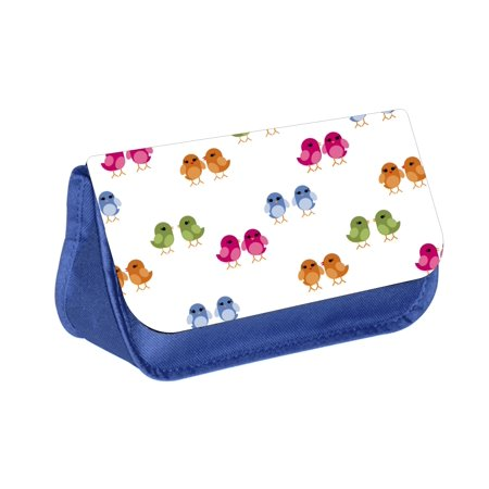 Birdies -  Blue Girls / Boys Blue Pencil Case - Pencil Bag - with 2 Zippered Pockets