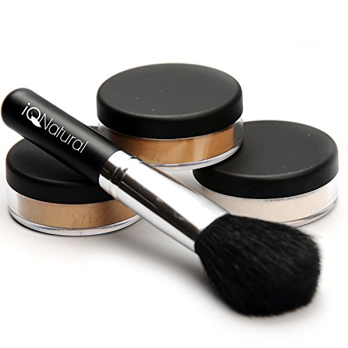 iQ Natural Loose Mineral Foundation Makeup Kit - 4 Piece Full Size Set (MED)