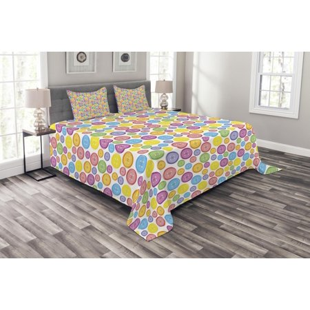 Modern Bedspread Set, Circular Shaped Buttons Pattern in Various Sizes Artistic Kids Nursery Baby Print, Decorative Quilted Coverlet Set with Pillow Shams Included, Multicolor, by Ambesonne ()