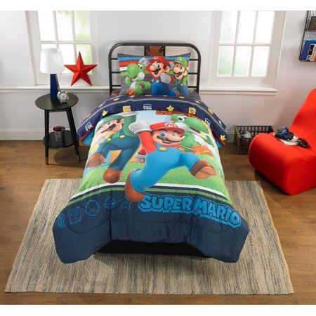 Nintendo Super Mario Trifecta Fun Kids Bedding Comforter, Twin