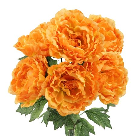 Beauty Stems - Admired By Nature GPB7305-YW - BT TIP 7 Stems Artificial Full Blooming Peony Flower Bush, Yellow & Beauty Tip