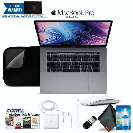 "Apple 15.4"" MacBook Pro Laptop Retina, Touch Bar, 2.2GHz 6-Core Intel Core i7, 16GB RAM, 256GB SSD Space Gray with Padded Case, Corel Software and Magic Mouse - Professional Bundle"