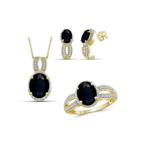 JewelersClub 7 3/4 Carat T.G.W. Sapphire And White Diamond Accent 14k Gold Over Silver 3-Piece Jewelry (14k Black Jewelry Set)