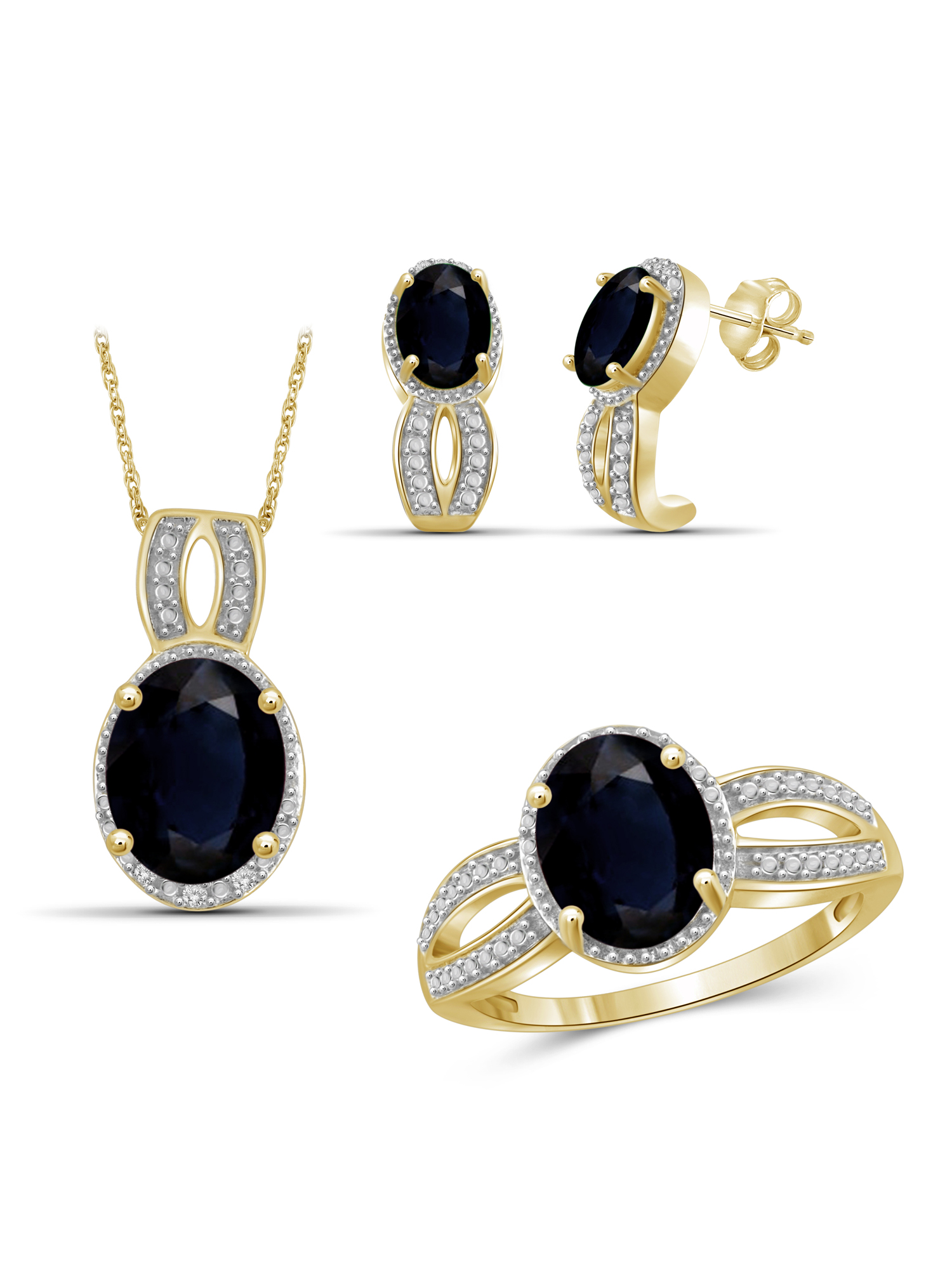 JewelersClub 7 3/4 Carat T.G.W. Sapphire And White Diamond Accent 14k Gold Over Silver 3-Piece Jewelry set