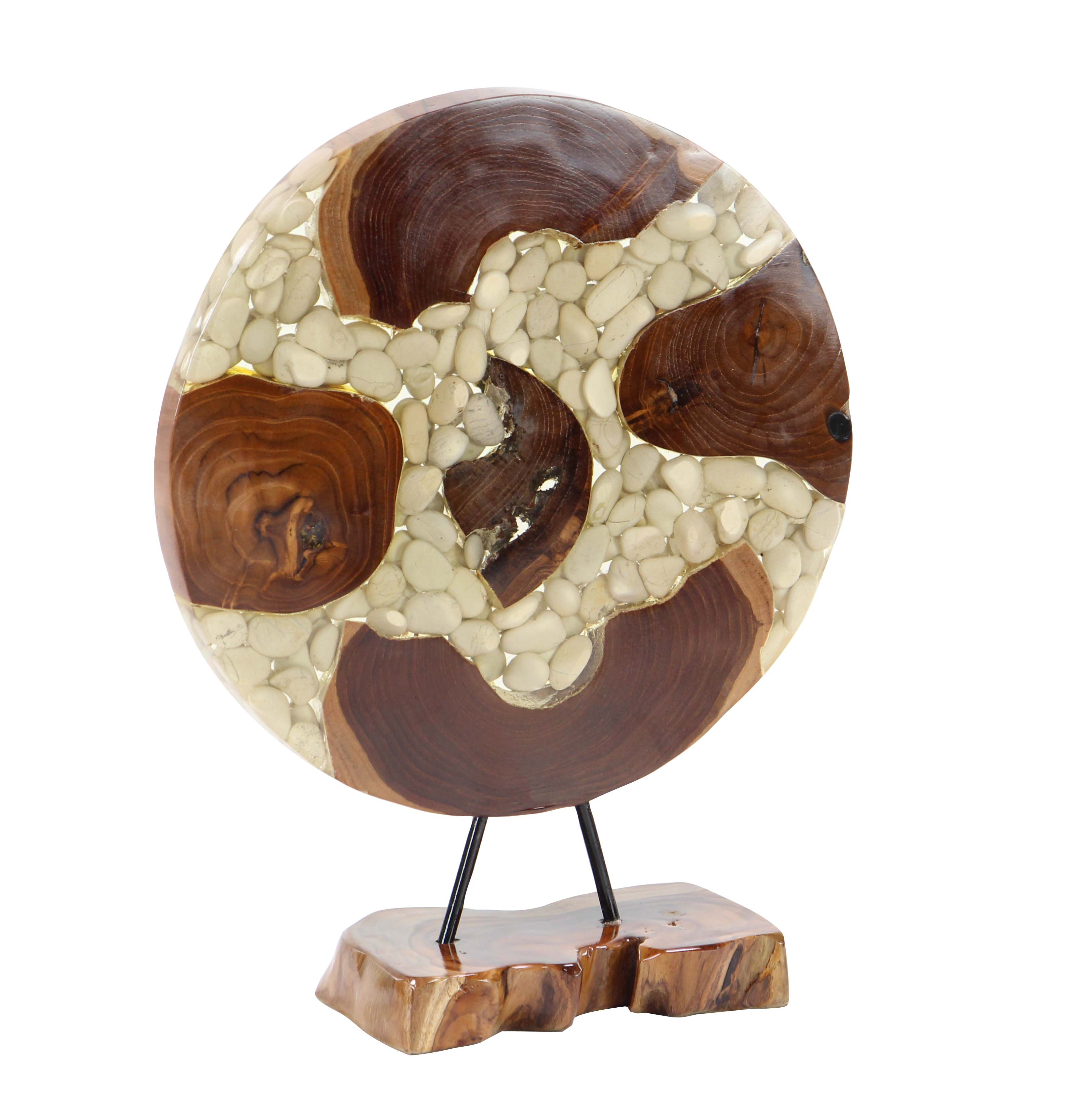 Decmode Contemporary Wood and Resin Round Stone Sculpture, Brown by DecMode