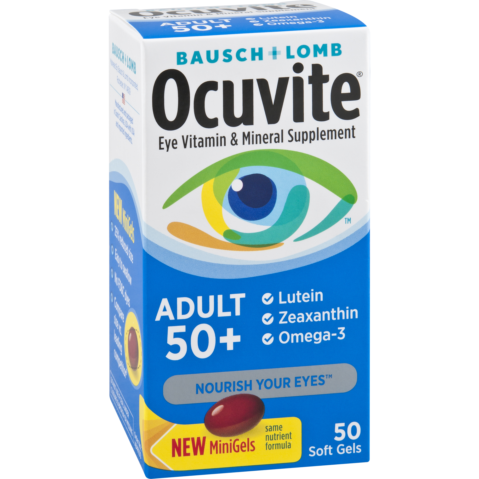 Ocuvite Eye Vitamin Adult 50+ Formula Eye Health Vitamins, 50 CT Soft Gels - Walmart.com at Walmart - Vision Center in Connersville, IN | Tuggl