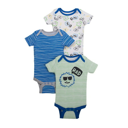 Little Star Organic Newborn Baby Boy Assorted Short Sleeve Bodysuit, 3-pack (Newborn Onesie Halloween Costumes)