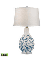 Table Lamps 1 Light With Pale Blue White Ceramic Acrylic Medium Base 27 inch 9.5 Watts