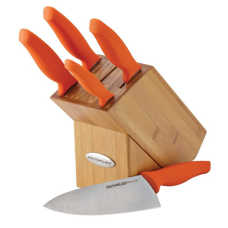 Rachael Ray Cutlery 6-Piece Japanese Stainless Steel Knife Block Set with Orange Handles