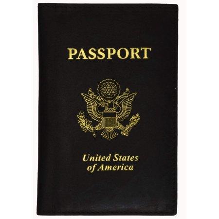 menswallet Marshal USA Gold Logo Passport Cover Holder for Travel 151 PU USA (C) Black ()