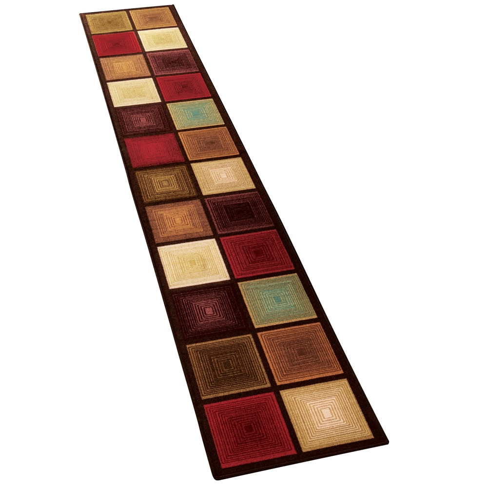 "Optic Squares Runner Rug in Deep, Rich Hues - Skid-Resistant Backing Perfect for Hallway, 20"" X 120"", Multi"