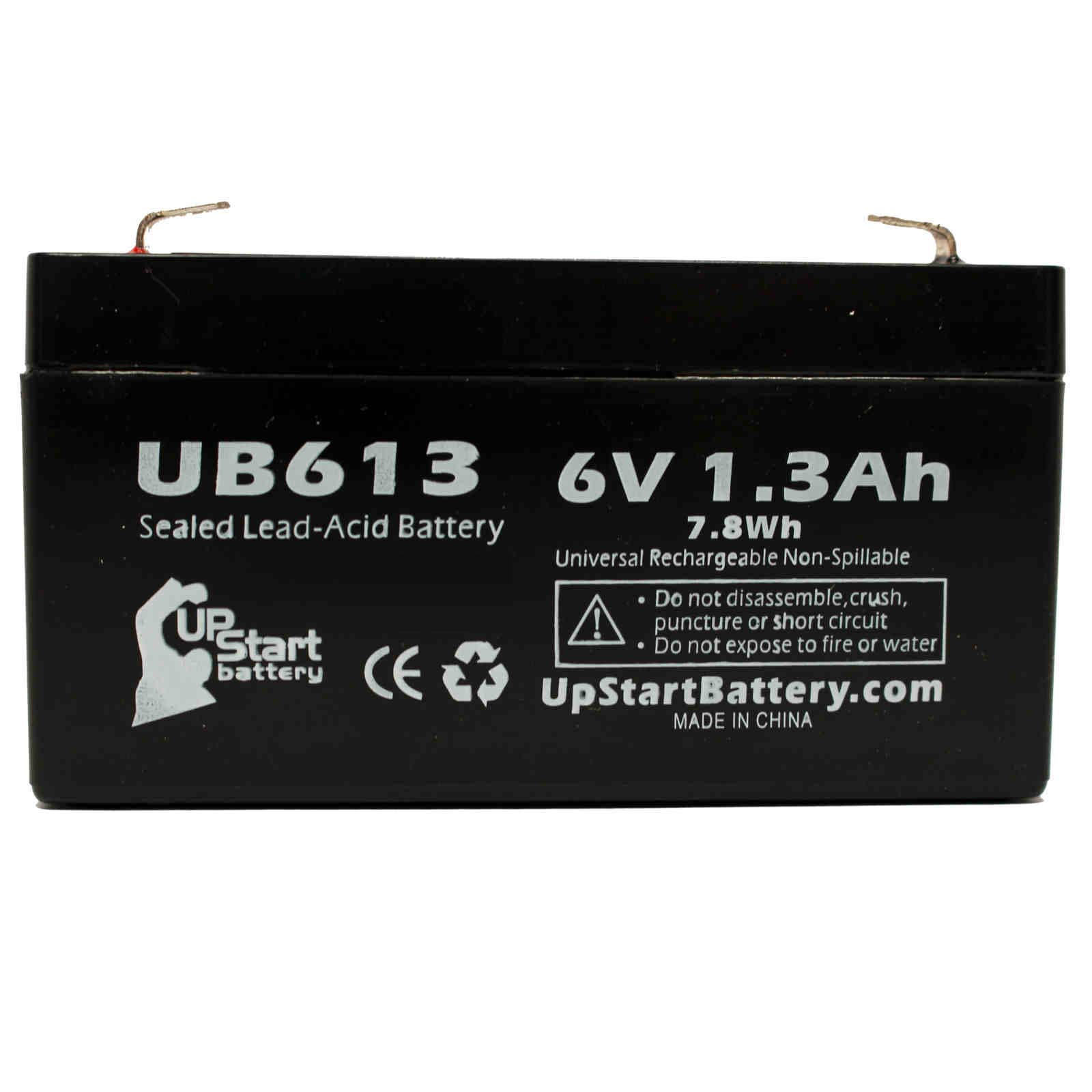 ACME MEDICAL 2500 SCALE OPTION Battery Replacement - UB613 Universal Sealed Lead Acid Battery (6V, 1.3Ah, 1300mAh, F1 Terminal, AGM, SLA) - Includes TWO F1 to F2 Terminal Adapters - image 3 de 4