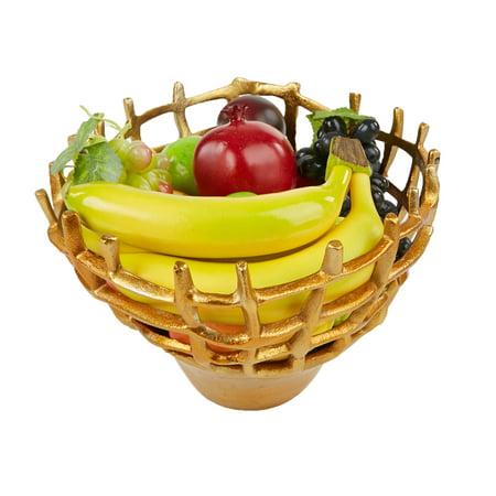 Aluminum Storage Holder (Mind Reader Aluminum Decorative Fruit Bowl, Fruit Holder, Fruit Basket, Snack Storage, Gold )