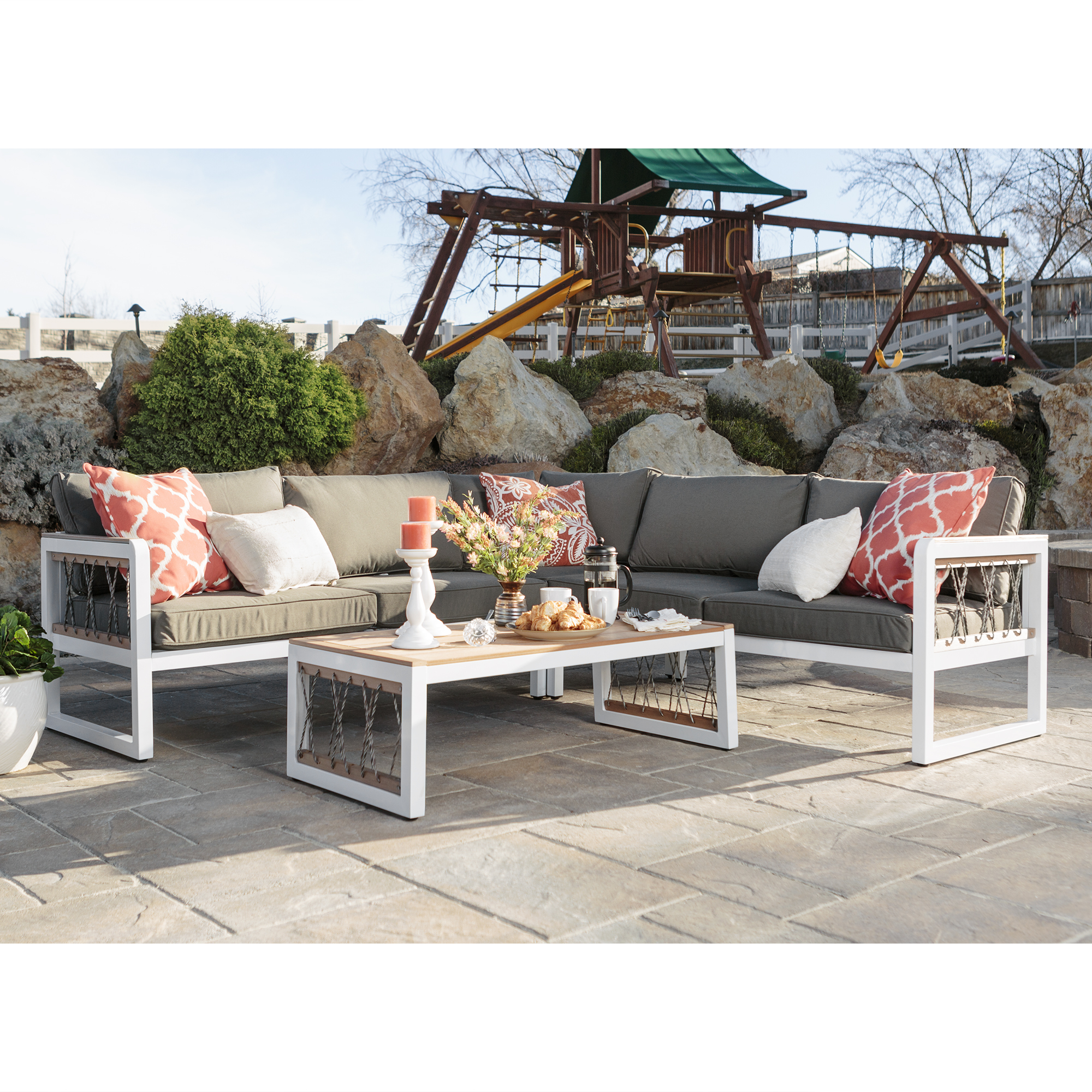 Manor Park 4 Piece Teak Wood And Metal Outdoor Patio Sectional With Cord  Accents