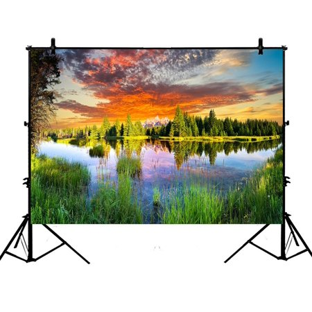 PHFZK 7x5ft Beautiful Sky Cloud Nature Backdrops, Early Morning Panoramic View of the Snake River and Woodland Photography Backdrops Polyester Photo Background Studio (Best Lens For Panoramic Photography)