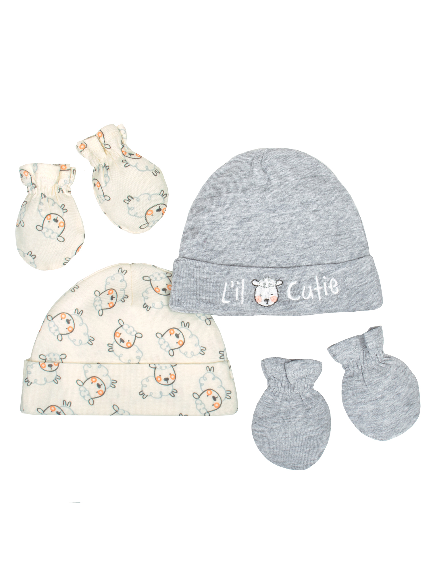 Newborn Baby Boy or Girl Unisex Organic Cap and Mittens Set, 4pc