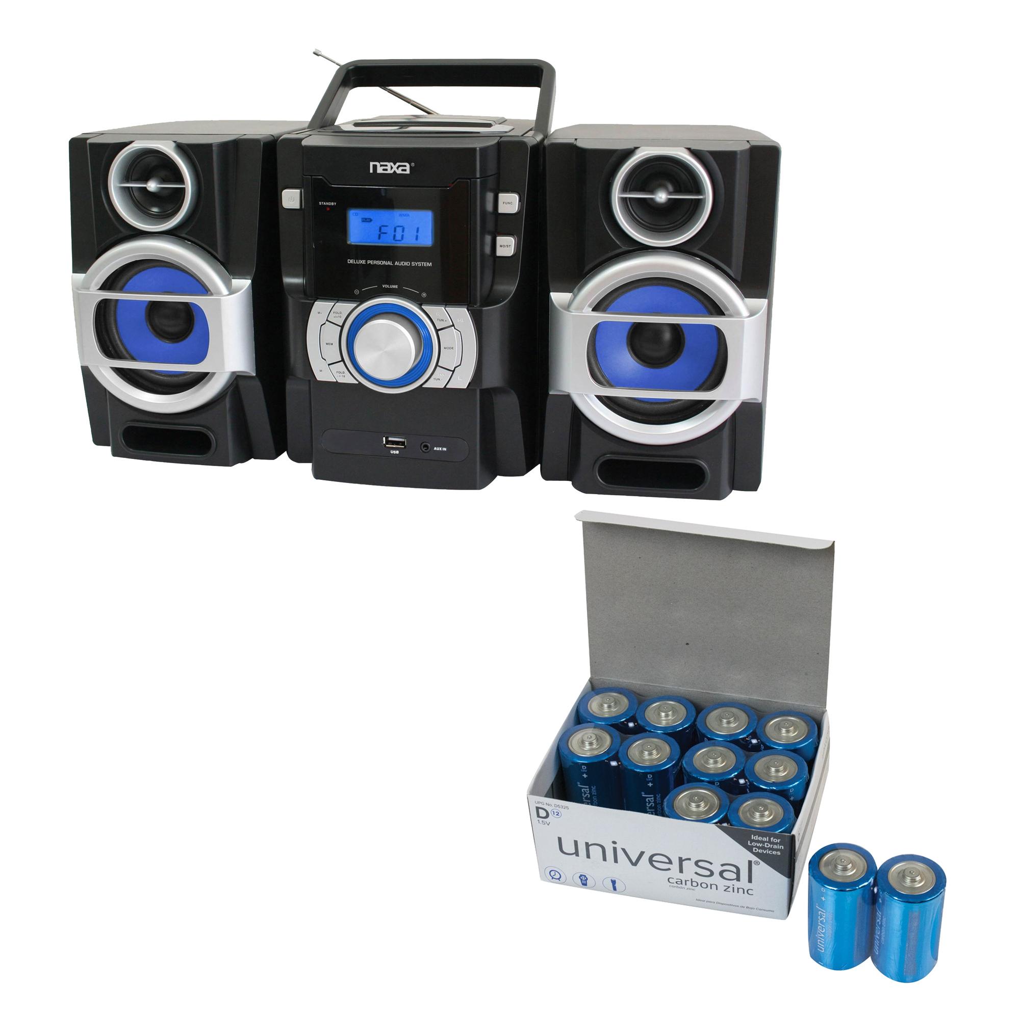 Naxa NPB429 Portable CD/MP3 Player With PLL FM Radio, Detachable Speakers & Remote & UPG D 12 PACK