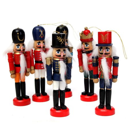 6pcs 5 12cm wooden nutcracker soldier handcraft walnut puppet kids children toys home decor