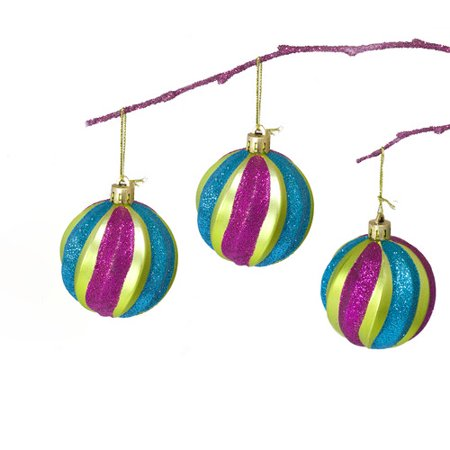 Perfect Holiday 2.36'' Shatterproof Handpainted Stripes Christmas Ball Ornament