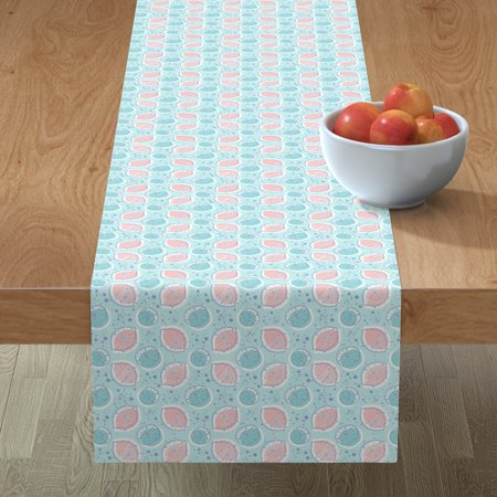 Image of Table Runner Lemonade Atomic 1950 Pink Blue Sky Lemons Cotton Sateen