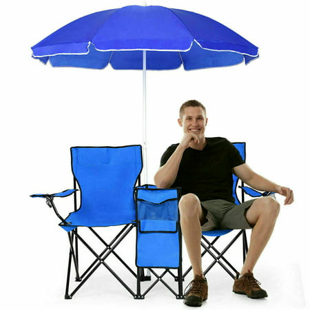 Picnic Double Folding Chair with Removable Umbrella Table Cooler Fold Up Beach Camping Chair ()