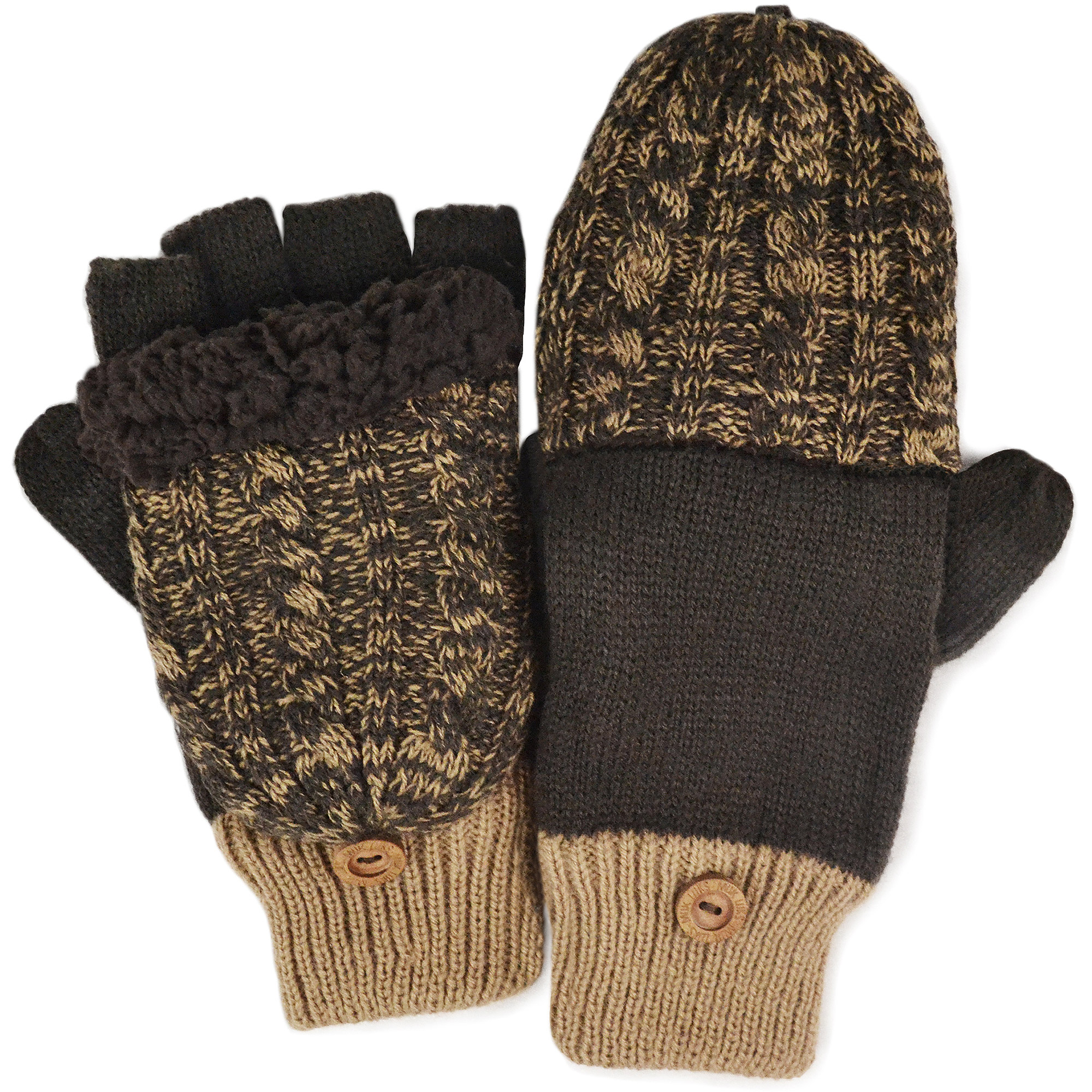 MUK LUKS Men's Color Block Cable Flip Mittens