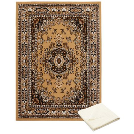Astoria Grand Rossman Persian Cream Brown Area Rug With Pad